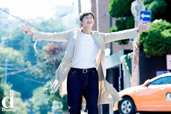 Tags: K-Pop, BTS, Rap Monster, Coat, Car, Arms Out, Gray Hair, Eyes Closed, Brown Pants, Dispatch