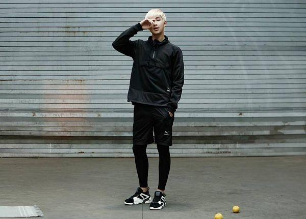 Tags: K-Pop, BTS, Rap Monster, Black Outerwear, Black Outfit, Black Pants, Black Jacket, Full Body, Covering Eyes, Sneakers, Shoes, Puma
