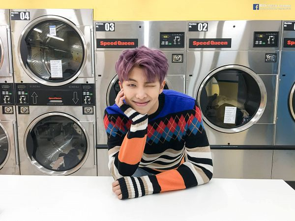Tags: K-Pop, BTS, Spring Day, Rap Monster, Washing Machine, Arm Support, Purple Hair, Sweater, Wink, You Never Walk Alone