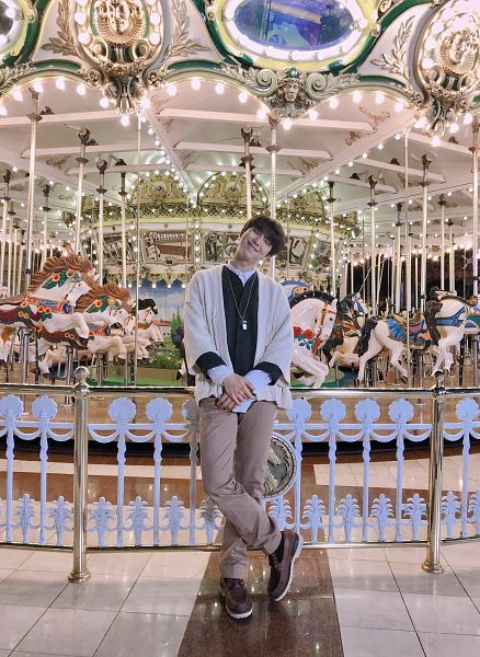 Tags: K-Pop, BTS, Rap Monster, Necklace, Carousel, Light Bulb, Brown Footwear, Eyes Closed, Head Tilt, Twitter
