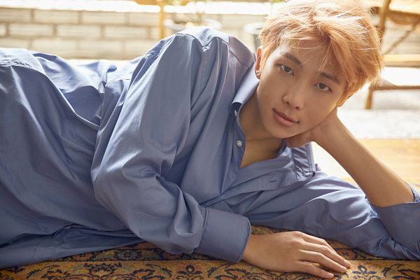 Tags: K-Pop, Bangtan Boys, Rap Monster, Blue Shirt, Laying On Side, Blonde Hair, Laying Down, Arm Support, Chair, Carpet, Twitter, Love Yourself: Her