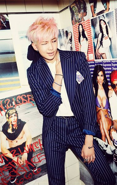 Tags: K-Pop, BTS, Rap Monster, Black Pants, Suit, Hand On Chest, Black Jacket, Bracelet, Wink, Striped Jacket, Suggestive, Ring