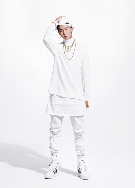 Tags: K-Pop, BTS, Rap Monster, Full Body, White Footwear, Shoes, White Outfit, Necklace, White Pants, Light Background, Hat, Hand On Hat
