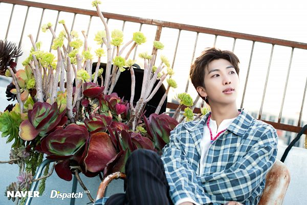 Tags: K-Pop, BTS, Rap Monster, Striped Pants, Chair, Day, Black Pants, Plaided Print, Sky, City, Sitting On Chair, Collar (Clothes)