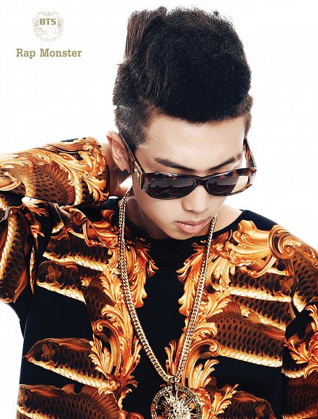 Tags: K-Pop, BTS, Rap Monster, Sunglasses, Necklace, Hand In Hair, Light Background, Looking Down, White Background, 2 Cool 4 Skool, Android/iPhone Wallpaper