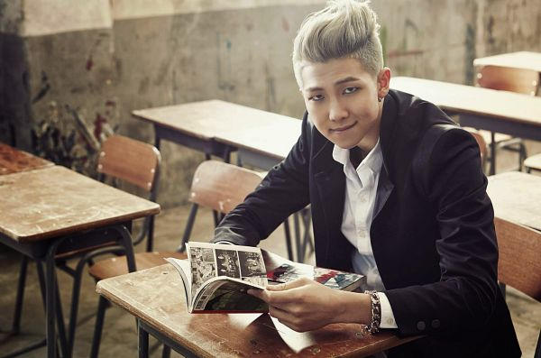 Tags: K-Pop, BTS, Rap Monster, Book, Black Jacket, Sitting On Chair, School Uniform, Table, Reading, Wallpaper, Skool Luv Affair
