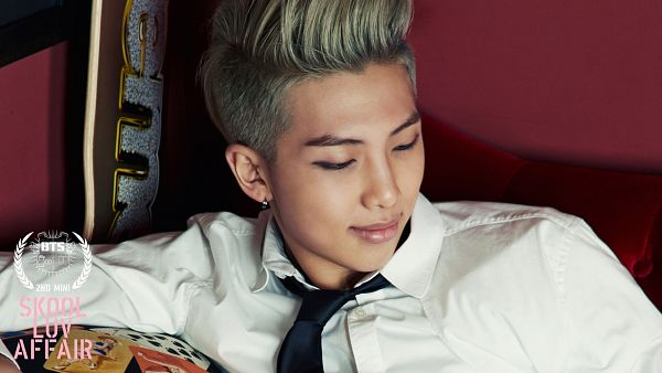 Tags: K-Pop, BTS, Rap Monster, Text: Artist Name, Close Up, Text: Album Name, Looking Down, Tie, Gray Hair, Black Neckwear, Eyes Half Closed, Wallpaper