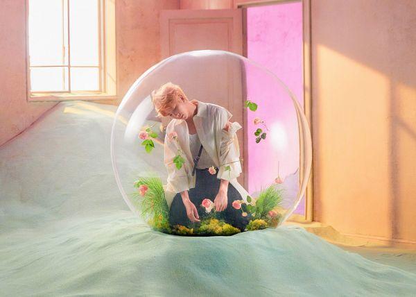 Tags: K-Pop, BTS, Rap Monster, Leaf, Eyes Closed, Door, Window, Grass, Kneeling, Flower, Rose (flower), Black Pants