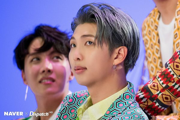 Tags: K-Pop, BTS, IDOL (Song), Rap Monster, J-Hope, Close Up, Gray Hair, Collar (Clothes), English Text, Trio, Three Males, Blue Background