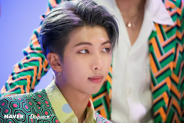 Tags: K-Pop, Bangtan Boys, IDOL (Song), Rap Monster, Duo, Close Up, Collar (Clothes), English Text, Looking Ahead, Necklace, Two Males, Blue Background