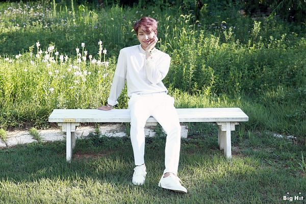 Tags: K-Pop, BTS, Rap Monster, Ring, Text: Company Name, White Pants, Bracelet, Sitting On Bench, Bench, White Footwear, English Text, BTS 2019 Season's Greetings
