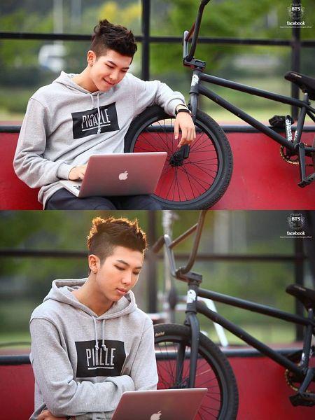 Tags: K-Pop, BTS, Rap Monster, Hoodie, Black Pants, Bicycle, Serious, Hood, Computer