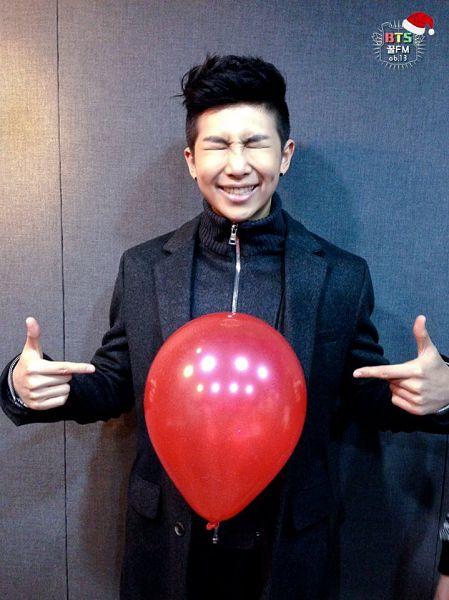 Tags: K-Pop, BTS, Rap Monster, Black Jacket, Eyes Closed, Black Shirt, Black Outerwear, Balloons