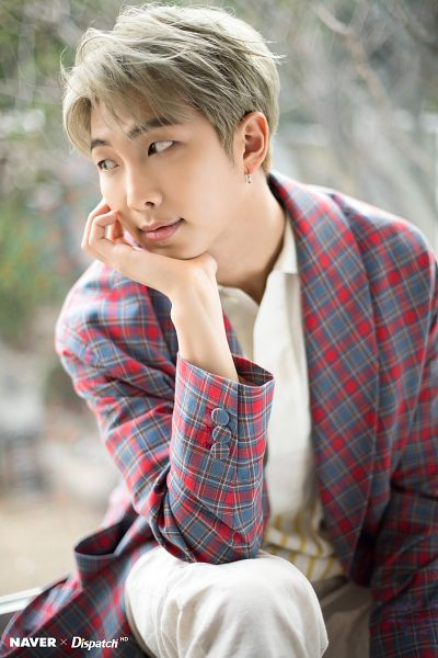 Tags: K-Pop, BTS, Rap Monster, Blue Jacket, White Day, English Text, Checkered Jacket, Outdoors, Looking Away, Arm On Knee, Blue Outerwear, Red Outerwear