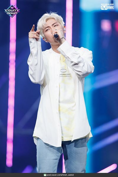 Tags: Television Show, K-Pop, BTS, Make It Right, Rap Monster, English Text, Text: URL, White Hair, Blue Pants, Earbuds, Singing, M!Countdown
