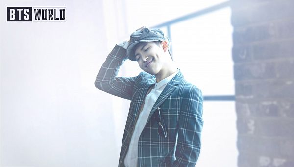 Tags: K-Pop, BTS, Rap Monster, Head Tilt, English Text, Eyes Closed, Plaided Jacket, Hat, Dimples, Window, Netmarble, BTS World