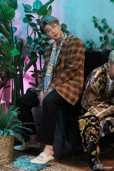 Tags: K-Pop, BTS, Rap Monster, Glasses, Gray Hair, Shoes, Serious, Text: URL, Sandals, Black Pants, Brown Outerwear, English Text