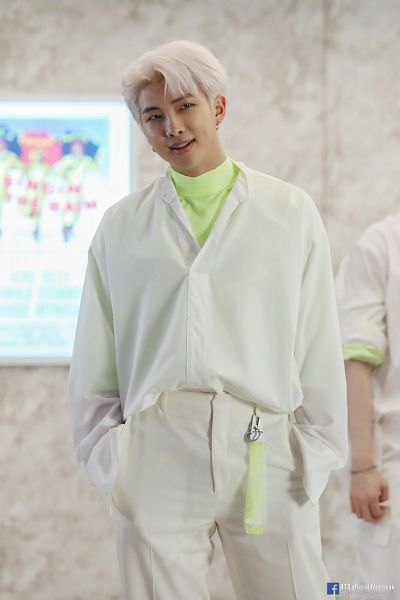 Tags: K-Pop, BTS, Boy With Luv, Rap Monster, White Pants, English Text, Text: URL, Green Shirt, Dimples, White Hair, Text: Artist Name, Duo