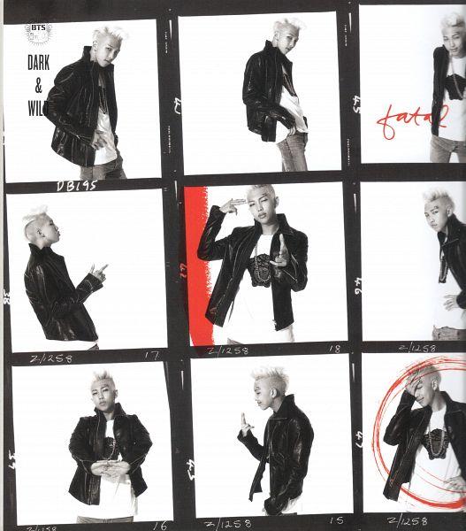 Tags: K-Pop, Bangtan Boys, Rap Monster, Pointing, Text: Album Name, Monochrome, Black Jacket, Frame, Necklace, Light Background, Covering Eyes, Multiple Persona