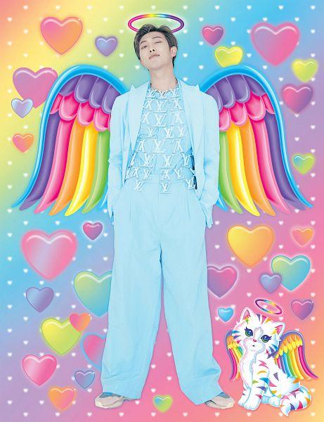 Tags: K-Pop, BTS, Rap Monster, Blue Shirt, Blue Pants, Cat, Wings, Halo, Hand In Pocket, Animal, Blue Outerwear, Wink