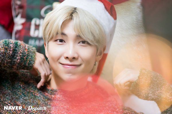 Tags: K-Pop, BTS, Rap Monster, Sweater, Close Up, Bokeh, English Text, Christmas Hat, Black Eyes, Hat, Christmas, Dispatch