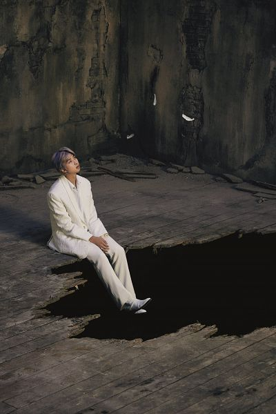 Tags: K-Pop, BTS, Rap Monster, Shoes, White Outerwear, White Jacket, Hole, White Outfit, Feather, White Pants, Full Body, Sitting On Ground