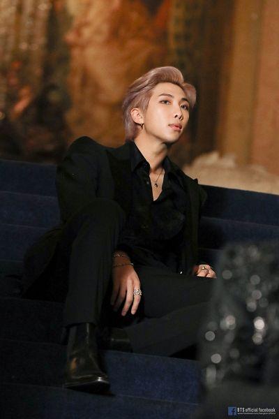 Tags: K-Pop, BTS, Black Swan, Rap Monster, Ring, Stairs, Black Outfit, Indoors, Shoes, Black Footwear, Black Pants, Necklace