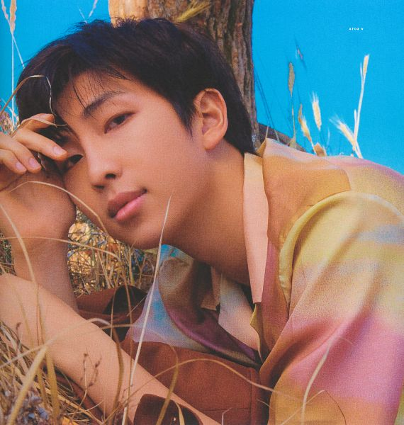 Tags: K-Pop, BTS, Rap Monster, Black Eyes, Grass, Brown Outerwear, Sky, Collar (Clothes), Close Up, Plant, Tree, Hand On Head