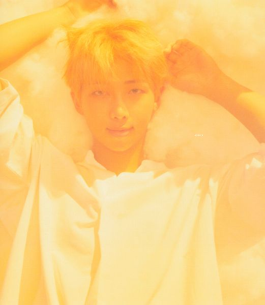 Tags: K-Pop, BTS, Rap Monster, Close Up, Laying On Back, Arms Up, Laying Down, Clouds, Short Sleeves, Contact Lenses, Scan, Love Yourself: Her