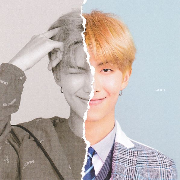 Tags: K-Pop, BTS, Rap Monster, Light Background, Multi-colored Background, Eyes Closed, Striped, One Arm Up, Tie, Close Up, Striped Neckwear, Vest