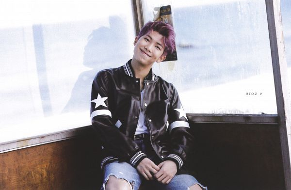 Tags: K-Pop, BTS, Rap Monster, Purple Hair, Black Outerwear, Belt, Outdoors, Star (Symbol), Necklace, Black Eyes, Black Jacket, Bench