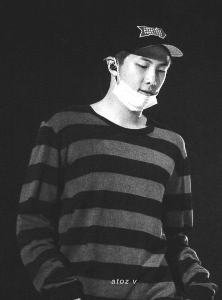 Tags: K-Pop, BTS, Rap Monster, Dark Background, Earbuds, Mask, Monochrome, Striped, Looking Down, Mask Off, Hat, Sweater