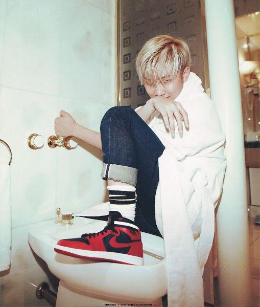 Tags: K-Pop, BTS, Rap Monster, Sink, Red Footwear, Socks, Jeans, Covering Mouth, Blue Pants, Bathroom, Magazine Scan, Scan