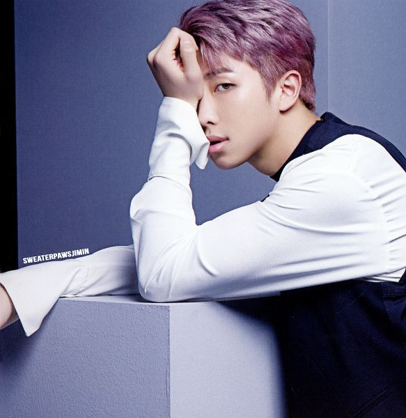 Tags: K-Pop, BTS, Rap Monster, Choker, Contact Lenses, Hand On Head, Purple Hair, Covering Eyes, Close Up, Black Outerwear, Vest, Scan