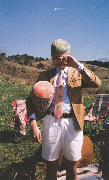 Tags: K-Pop, BTS, Rap Monster, Chair, Collar (Clothes), Grass, Ring, White Shorts, Tree, Brown Outerwear, Shorts, Mound