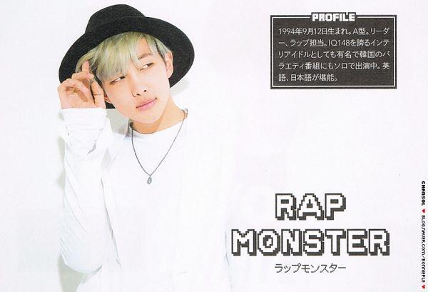 Tags: K-Pop, BTS, Rap Monster, Looking Away, Black Headwear, Necklace, Text: Artist Name, Japanese Text, Green Hair, Wallpaper, Magazine Scan, Cutie Magazine