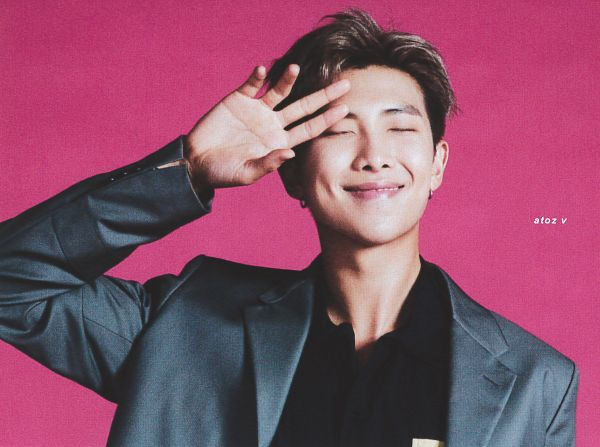 Tags: K-Pop, BTS, Rap Monster, Dimples, Gray Jacket, Eyes Closed, Pink Background, Suit, Gray Outerwear, Scan, Anan Magazine, Magazine Scan
