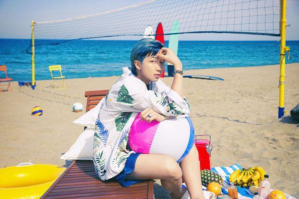Tags: K-Pop, BTS, Butter, Rap Monster, Beach, Blue Shorts, Net, Blue Hair, Ball, Bracelet, Sand, Floral Shirt
