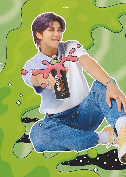 Tags: K-Pop, BTS, Rap Monster, Ring, Green Background, Jeans, Purple Hair, Bracelet, Blue Pants, Grin, Yellow Footwear, Short Sleeves