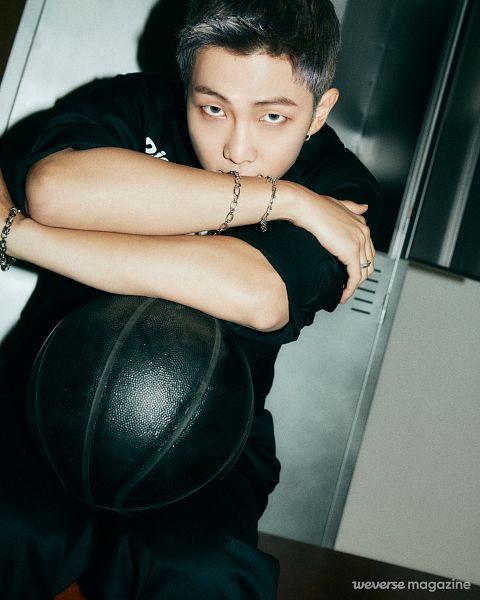 Tags: K-Pop, BTS, Rap Monster, Gray Hair, Black Outfit, Black Pants, Rolled Up Sleeves, Basketball Ball, Bracelet, Ball, Weverse Magazine, Weverse
