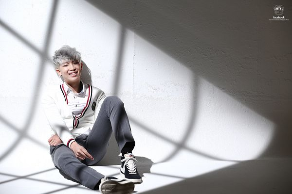 Tags: K-Pop, Bangtan Boys, Just One Day, Rap Monster, Bent Knees, Leaning On Wall, Pants, White Hair, Grin, Sweater, Sneakers, Sitting