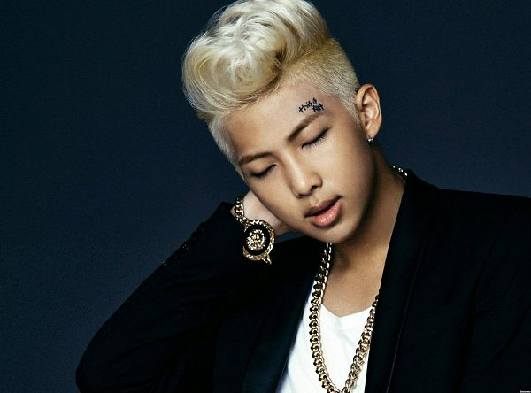 Tags: K-Pop, Bangtan Boys, Rap Monster, Tattoo, Black Jacket, Earrings, Close Up, Bracelet, Blonde Hair, Eyes Closed, Necklace, Wallpaper