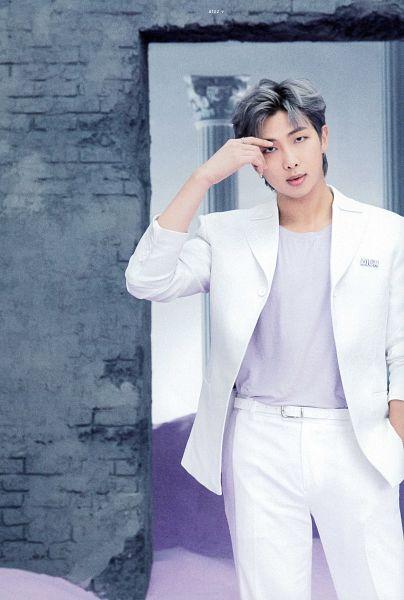Tags: K-Pop, BTS, Rap Monster, Purple Shirt, Gray Hair, White Jacket, Column, Serious, White Pants, Wall, White Outerwear, Sand