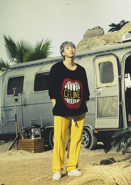 Tags: K-Pop, BTS, Rap Monster, Car, Tree, Gray Hair, Yellow Pants, Hand In Pocket, Palm Tree, Necklace, BTS The Best, Scan