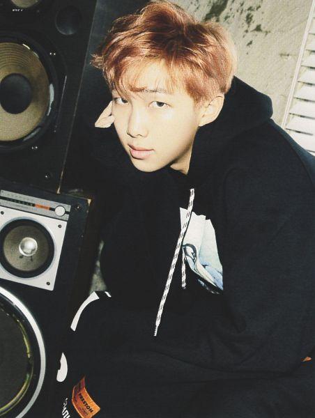 Tags: K-Pop, BTS, Rap Monster, Serious, Hood, Hoodie, Red Hair, Speaker, Scan, Mic Drop/DNA/Crystal Snow