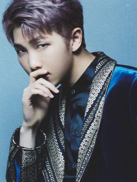 Tags: K-Pop, BTS, Rap Monster, Chin In Hand, Blue Outerwear, Purple Hair, Serious, Blue Background, Blue Shirt, Blue Jacket, Blood Sweat & Tears (Japanese Version), Scan