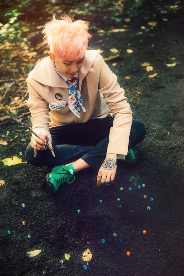 Tags: K-Pop, BTS, Rap Monster, Red Hair, Looking Down, Green Footwear, Sitting On Ground, Tattoo, Ring, The Most Beautiful Moment in Life pt.2