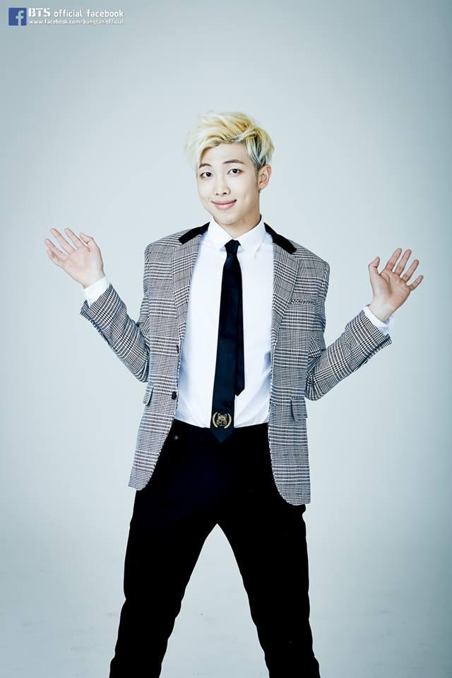 Tags: K-Pop, BTS, Rap Monster, Gray Jacket, Checkered, Black Pants, Checkered Jacket, Gray Background, Tie, Gray Outerwear, Black Eyes, Black Neckwear