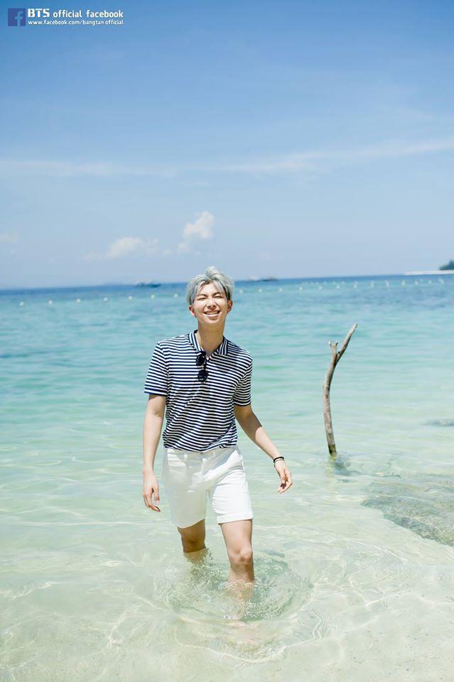 Tags: K-Pop, Bangtan Boys, Rap Monster, In Water, Outdoors, Sea, Short Sleeves, Grin, Water, Glasses, Striped, Sunglasses