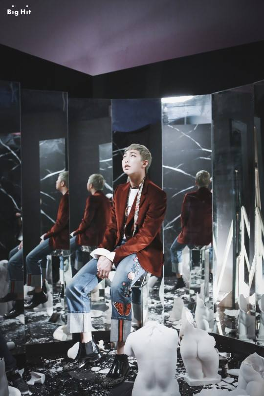 Tags: K-Pop, BTS, Rap Monster, Reflection, Mirror, Red Outerwear, Blue Pants, Jeans, Glass, Looking Up, Red Jacket, Wings (Album)